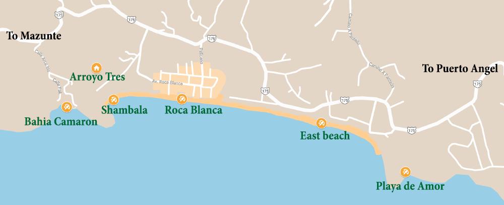 Playa Zipolite Oaxaca Mexico map